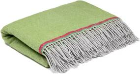 Ledikantdeken wol groen visgraat