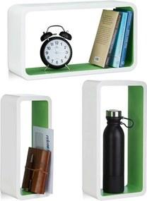 Wandplank set van 3 - XL boekenplank - zwevende wandboard - belastbare planken wit-groen