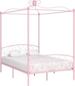 Hemelbedframe metaal roze 140x200 cm