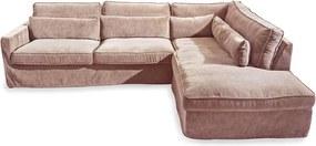 Rivièra Maison - Brompton Cross Corner Sofa Chaise Longue Right, velvet, blossom - Kleur: roze