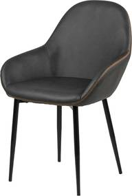 Lisomme Beklede eetkamerstoel - Riff - Leer - Donkergrijs- Eetkamerstoelen - Kuipstoelen - leren bekleding - Bureaustoel - comfortabele stoel - Leer