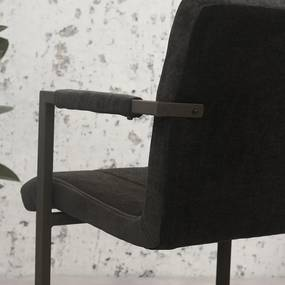 Dimehouse | Eetkamerstoel Jackson breedte 54 cm x diepte 61 cm x hoogte 85 cm grijs eetkamerstoelen microvezel, metaal stoelen | NADUVI outlet