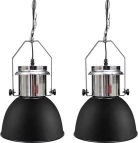 Plafondlampen in hoogte verstelbaar modern metaal zwart 2 st