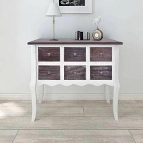 Wandkast met 6 lades hout bruin en wit