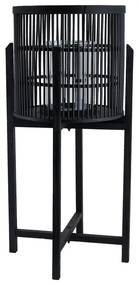 Bamboe lantaarn op voetjes - zwart - 36x73 cm