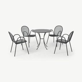 Emu ronde tuintafel met 4 stoelen van gepoedercoat staal, donkergrijs