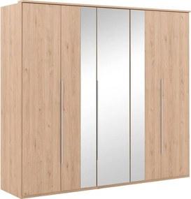 Goossens Basic Kledingkast Londe, Slaapkamerkast 225 cm breed, 210 cm hoog, 2 x draaideur en 3 x spiegel draaideur