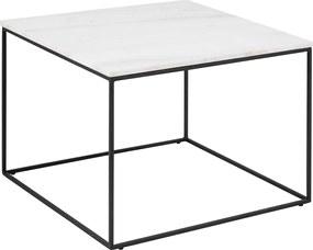Lisomme Salontafel - Nina - Marmer - Vierkant - Wit- Salontafels - bijzettafel - vierkante tafel - zwart metalen onderstel - woontrend - Steen