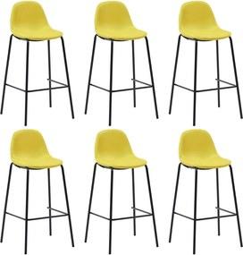 Barstoelen 6 st stof geel