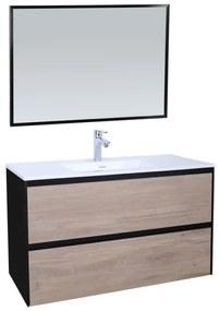 Adema Industrial Badmeubelset 100x45.5x58cm met overloop inclusief zwart aluminium frame spiegel hout/zwart Industrial-100