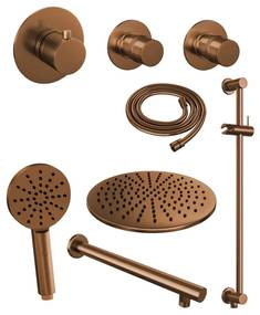 Thermostatisch Inbouwdoucheset Brauer Copper 30cm Hoofddouche Wandarm 3 Standen Handdouche op Glijstang Koper