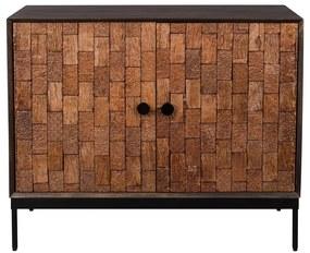 Dutchbone Chisel Mangohout Dressoir Met Snijwerk - 100x40x80cm.