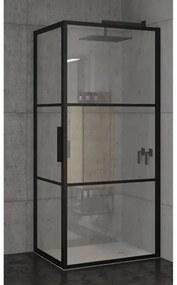 Riho Grid douchecabine 100x80x200cm 1 draaideur zwart profiel en helder glas GB2100080