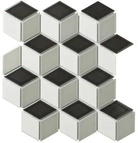 The Mosaic Factory Paris mozaïektegel 48x81x6mm wandtegel voor binnen en buiten 3D cubic porselein wit grijs zwart PACU MIX1
