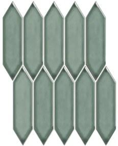 The Mosaic Factory Paris Picket mozaïektegel 4.8x19.5x.6.5cm wandtegel voor binnen en buiten Glans Groen PAPIC82