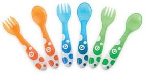 Meerkleurige vorken en lepels (6 stuks)