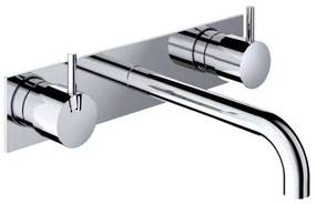 Hotbath Cobber inbouw wastafelmengkraan 3 gats met achterplaat met 25 cm uitloop glans nikkel HBCB005T/CB006TEXT25NI