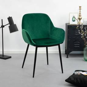 Kave Home Eetkamerstoel 'Kona' Velvet, kleur Groen