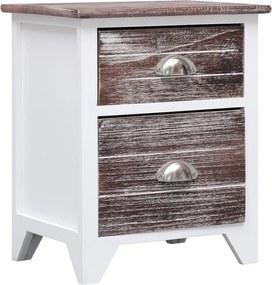 Nachtkastje 38x28x45 cm paulowniahout bruin en wit