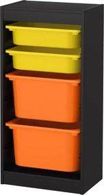 TROFAST Opbergcombinatie met bakken 46x30x94 cm zwart/geel oranje