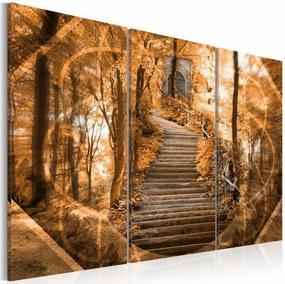 Schilderij - Stairway to heaven, bos , oranje bruin , 3 luik