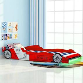 Kinderbed raceauto met LED-verlichting 90x200 cm rood