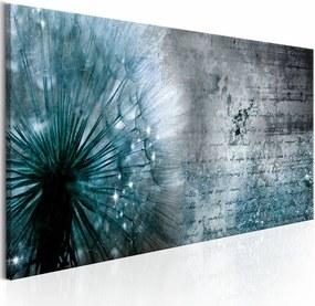 Schilderij - Blauwe Paardenbloem , beton look