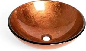 Saniclass Pesca waskom 42x14,5cm rond gehard glas bruin rood GS-L0118