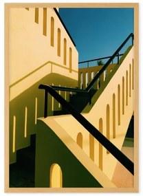 Architecture High Contrast Staircase door Eloise Holmes ingelijste print, A2, geel en blauw