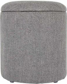 Lisomme Poef - Romy - Stof - Grijs- Ronde poef - stoffen meubelen - stof - opbergruimte - voetenbank