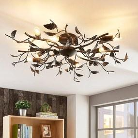 Rijk versierde metalen plafondlamp Yos, bladeren - lampen-24