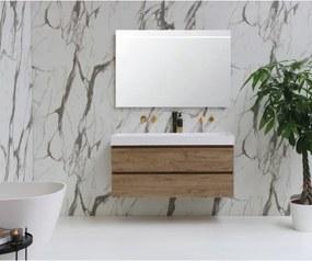 INK Momento badmeubelset 120x45 1 wasbak zonder kraangaten Polystone glans wit onderkast naturel eiken spiegel met verlichting 3421040-1257153-8408450
