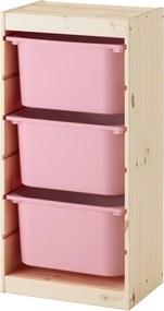 TROFAST Opbergcombinatie met bakken 44x30x91 cm licht witgebeitst grenen/roze