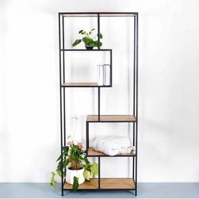 Industriële open boekenkast Vic - Eikenhout - B77 x H185 x D35 cm - 4 planken