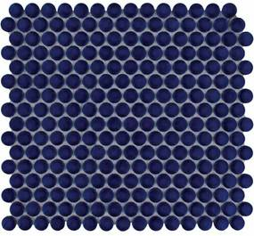 The Mosaic Factory Venice Pennyround mozaïektegel 1.9x0.5cm wandtegel voor binnen en buiten Rond Keramiek Kobalt Blauw VKN700