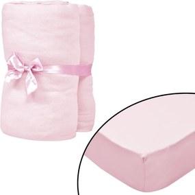 Hoeslakens voor wiegjes 4 st 70x140cm katoenen jersey stof roze