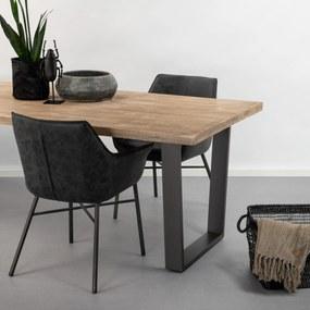 SoHome Industriële Eettafel Ivo Mango en metaal, kleur Blank Antiek, maat 180 x 90cm