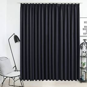 Medina Gordijn verduisterend met haken 290x245 cm zwart