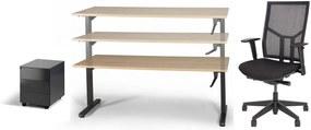 COMPLETE SET Recht slinger bureau160x80cm + Bureaustoel CS Shine + Ladeblok