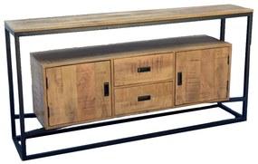 Onderkast Boss & Wessing Mango Wood Lenvo 180x80x40 cm Met Mat Zwart Metaal