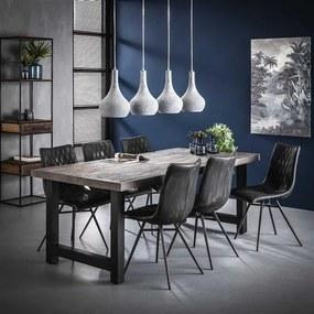 Dimehouse   Eettafel Tobas large: lengte 100 cm x breedte 200 cm x hoogte 77 grijs, zwart eettafels acaciahout, metaal tafels   NADUVI outlet