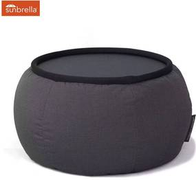 Ambient Lounge Outdoor Sunbrella Poef Versa Table - Black Rock