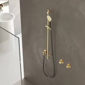 Hotbath Cobber glijstang 90cm met wandaansluitbocht doucheslang 150cm en handdouche roze goud M308RG