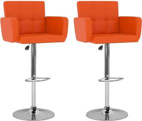Barkrukken 2 st kunstleer oranje