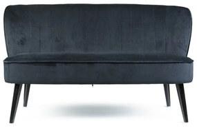 Bankje velvet - zwart - 132x66x74 cm
