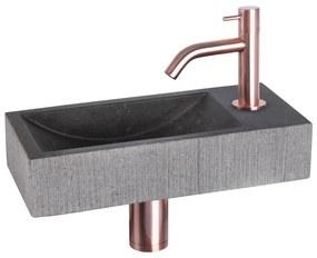 Ribble fonteinset Bombai black - kraan gebogen - natuursteen - koper