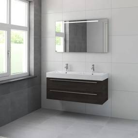 Bruynzeel Bando badmeubelset 120x55x45cm Dubbele wasbak met spiegel verlichting aluminium greeplijst gladstone 616668k