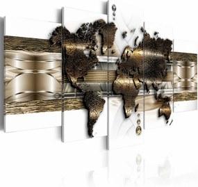 Schilderij - Wereldkaart - Metalen Wereld, Metaal Look,5luik, 200x100cm