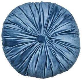 Kussen velvet rond - blauw - ø40 cm