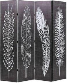 Kamerscherm inklapbaar veren 160x170 cm zwart en wit